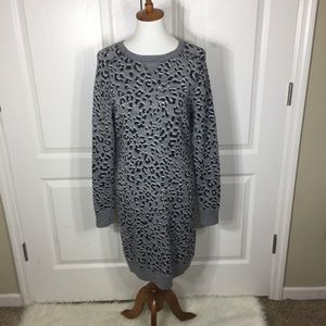 Ann Taylor Loft Grey Animal Print Sweater Dress